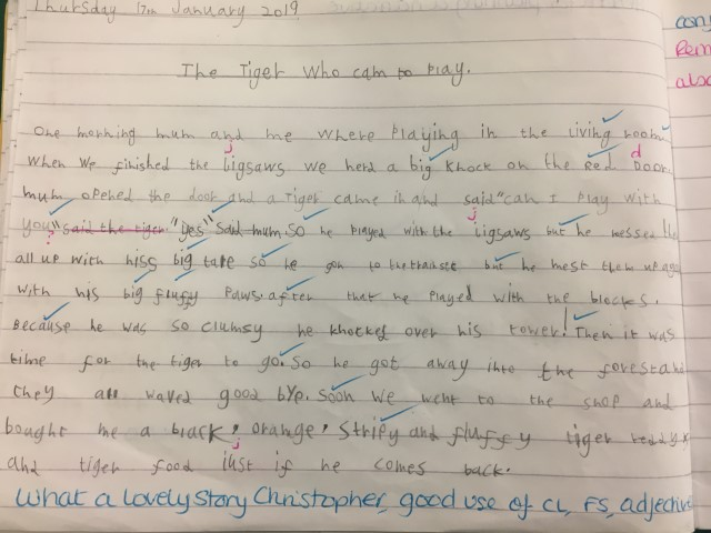2C spring 3  English writing Tiger who came for tea